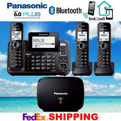 Panasonic Kx-tg9542b 2-line Link2cell Music On Hold 3 Cordless Phones 1 Repeater