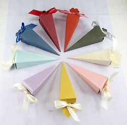1.5x5hcone Favor Boxes Wedding Bridal Baby Shower Party Candy Gift 25200p