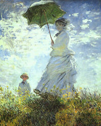Perfect Oil Painting Claude Monet - Woman With A Parasol With Child In Summer