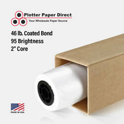 1 Roll 60 X 100' 46lb Coated Bond Paper For Wide Format Inkjet Printers
