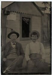 Antique Tintype Two Men In Hats In Front Of Building With Electric Light Fixture