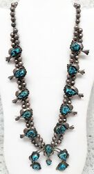 Gorgeous Navajo Turquoise Sterling Squash Blossom With Drop Necklace