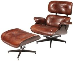 33 W Arm Chair And Ottoman Top Grain Vintage Leather Classic Brown Swivel Base