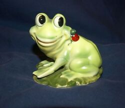 Vtg. Collectible Joseph Originals Green Ceramic Frog Lily Pad/red Lady Bug