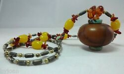 Estate Ancient Amber/turquoise/african Necklace