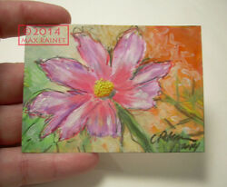 Original ACEO Miniature PAINTING Signed Fine Art C Peterson PINK COSMOS IN SUN