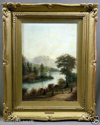 Lake And Mountainside Landscape Gilt Framed Oil Painting Signed Mcevoy