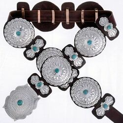 Full Size Birdseye Turquoise Silver Concho Belt Navajo Made