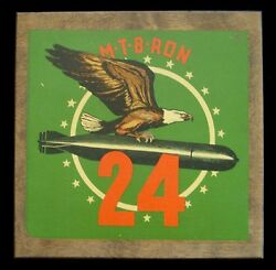Wwii Decal-on-wood Plaque For Us Navy Pt Squadron 24 Mtb Ron 24