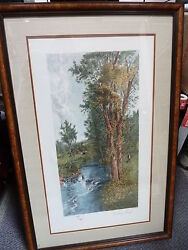 Vtg Framed Etching By Artist Geo H Mccord A Stony Brook Etched By A Drescher