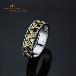 The Muse's Crown - 18k750 White Yellow Black Gold Design Ring For Men
