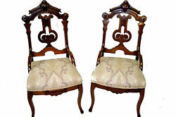 Pair Victorian Eastlake Intricately Carved Parlor Chairs, Solid Walnut C. 1880's