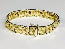 14kt Solid Yellow Gold Handmade Mens Nugget Bracelet 12 Mm 37 Grams 8 Inches