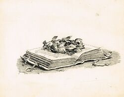 Fortunino Matania Tasso Book And Leaves. Tailpiece In Pen And Ink Lovely