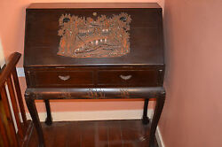 Antique Anglo Chinese Desk Heavily Carved Decoration And Fitted Interiorc 1910