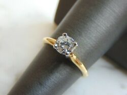 Womens Vintage Estate 14k Yellow Gold And Solitaire Diamond Ring 3.03g E1527