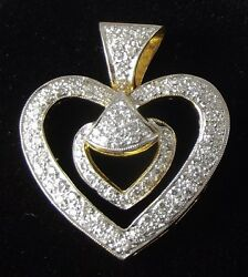 Stunning Lady's 18k Yellow Gold And Diamond Heart Within A Heart Pendant
