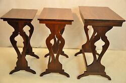 Antique Set Of 3 Regency Great Quality Solid Walnut Nesting Stacking Tables