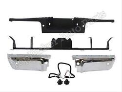 For 2008-2012 Ford Super Duty Rear Bumper Chrome End Hitch Pad License W/hole
