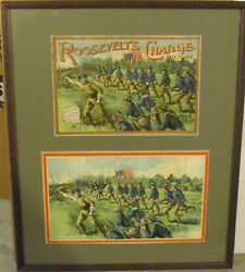 Roosevelt's Charge Picture Puzzle, Framed With Lid Of Box
