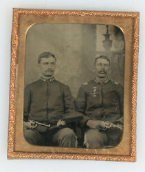 Tintype Military Spanish American War Solders In Uniform Holding Colt Revolver.