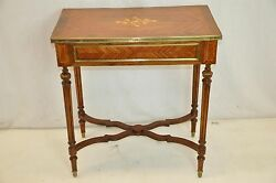 Gorgeous Louis Xvi Inlaid Marquetry Side Table Zebrawood Walnut Metal Drawers