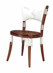 35 H Dining Chair White Soft Italian Leather Exotic Hard Wood Hand Crafted