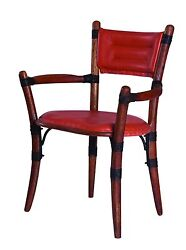 35 H Dining Chair Polished Exotic Wood Frame Upholstered Soft Italian Leather