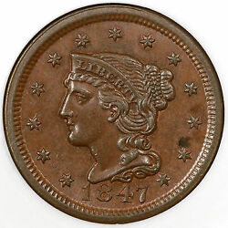 1847 N-27 Ngc Ms 63 Bn Braided Hair Large Cent Coin 1c Ex Jules Reiver