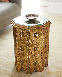 Morocco Cut Iron Italian Gold Mirror Top Side Table Horchow /neiman Marcus