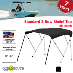 Oceansouth Bimini Top 3 Bow Boat Cover Black 79-84 Wide 6ft Long W/ Rear Poles