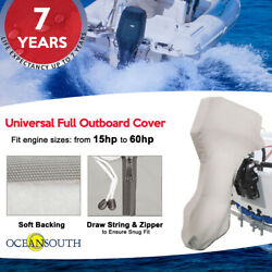 Oceansouth Full Outboard Boat Universal Canvas Cover Fits 15-60hp Motor Engine