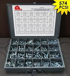 Grade 5 Bolts, Nuts And Washers Assortment Kit - 574 Pieces Free Shipping