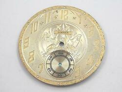 Gold Hampden Watch Dial For Pocket Watches Vintage 38.35mm Numeral Markers Nos