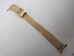 12mm Ladies Gold Tone Stainless Steel Vintage Sliding Clasp Watch Band Nos