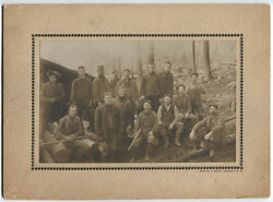 Occupational Lumber Mill/logging Camp. Group Photo Loggers Some With Tools. N.h.
