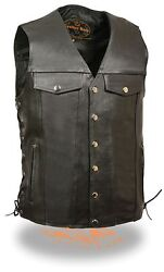 Menand039s Classic Cowhide Leather Side Lace Motorcycle Vest - Sh1360 For Bikers