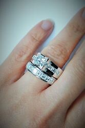 5.84 Carat Total Weight Modern Princess Diamond Bridal Set in Platinum