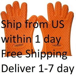 Pair Silicone Heat Resistant Gloves Oven Grill Pot Holder BBQ Cooking Mitt Glove