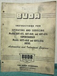 Buda Diesel Operating And Service Manual 8-dc-1225 8dc-1290 8-dcs-125 8-dcs-1290