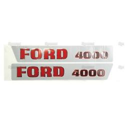 Hood Decal Set For Ford 4000 1965-1968 3-cyl Tractor - Uk Made Vinyl Sticker Kit