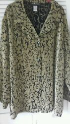 Sag Harbor Woman Size 22 3x Avocado W/ Black Design And Buttons Light Coat Top