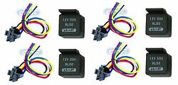 4 Pair 50 Amp 12v Bosch Style Relayand Harness Socket Spdt + 100 Copper Wires