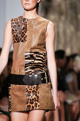 Michael Kors Leather Patchwork Shift Dress Size:4USA Retail $4995  New