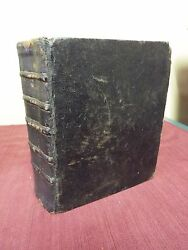 1688 Very Early French Bible - Printed In London- Black Morocco Leather Binding