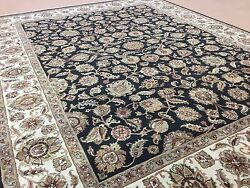 9 X 12 Black Beige Agra Floral Oriental Area Rug Hand Knotted All Over