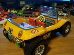 Taiyo 60's Vintage Toy No-fall Vw Buggy / Tin Rare Top-less And Working...