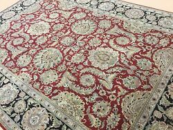 8.8 X 12.3 Red Black Agra All Over Oriental Area Rug Hand Knotted Wool