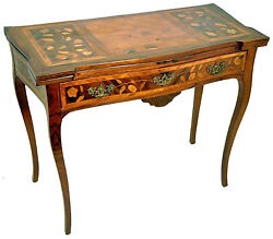 1820and039s Rare Italian Inlaid Marquetry Rosewood Tulipwood Original Game Table