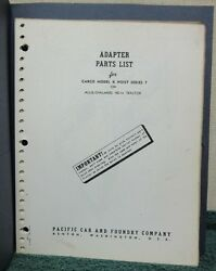Carco Model K Hoist Series 7 Adapter Parts Manual Allis-chalmers Hd14 Tractor